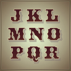 Vector set of letters in the old vintage style (part 2)