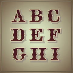 Vector set of letters in the old vintage style (part 1)