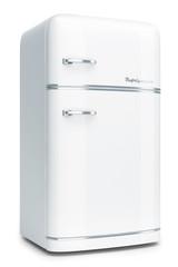 Retro refrigerator isolated on white background