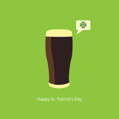 Beer with speach bubble. Saint Patricks Day greeting card