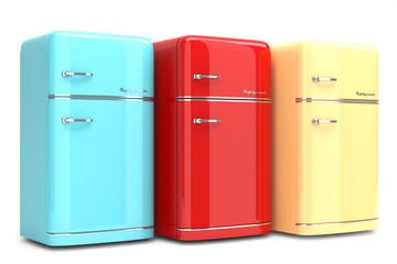 Retro refrigerators isolated on white background