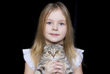 Girl with grey kitty