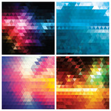 Collection of abstract geometric colorful backgrounds, pattern
