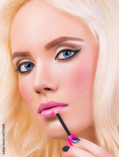 Blonde girl with perfect make up