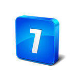 7 Number 3d Round Corner Blue Vector Icon Button