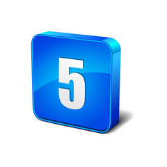 5 Number 3d Round Corner Blue Vector Icon Button