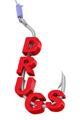"The word ""DRUGS"" on a fishing hook"