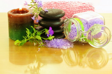 lavender spa therapy tools closeup