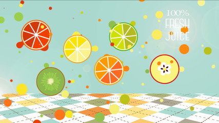 100% Fresh Juice. Fruit drops animated.