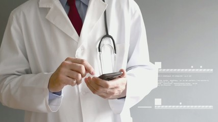 Male doctor in white coat is using a modern smartphone device