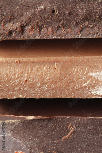 Closeup on a stack of dark and milk chocolate