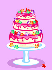 Three tier pink cake