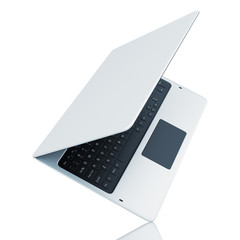 Turn modern laptop isolated on white background