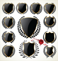 Black and gold shield and laurel wreath collection
