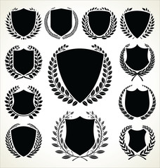 Black shield and laurel wreath collection