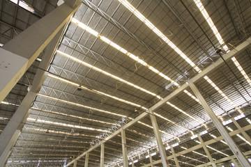 empty warehouse, structure of large empty abandoned warehouse