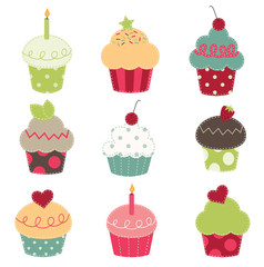 nine retro cupcake cutouts