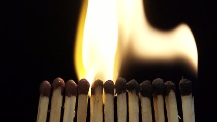 burning matches in slowmotion
