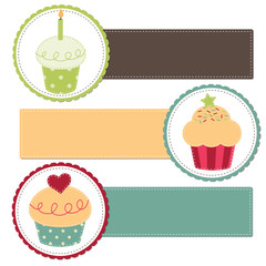Cupcakes on a retro template