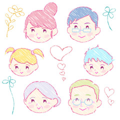家族表情微笑み_手描き
