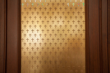 cross wallpaper, metal church partition with pattern of cross