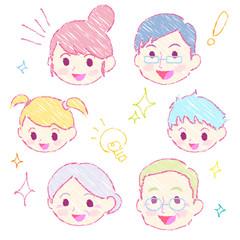 家族表情喜ぶ_手描き