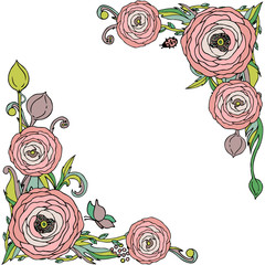 Rose flowers  vector frame with leaves, insects