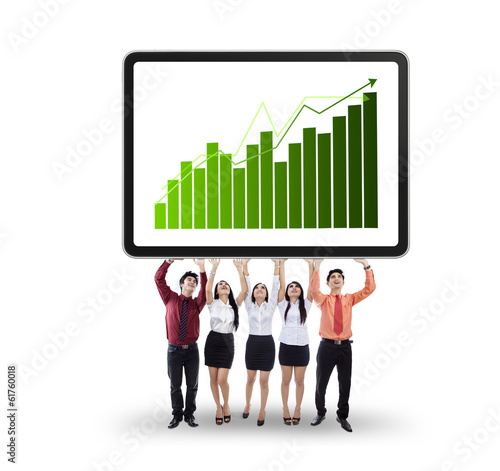 Business team showing growth graph