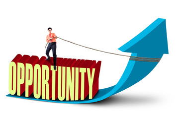 Businessman pull opportunity