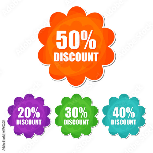 20, 30, 40, 50 percentages spring discount in four colors flower