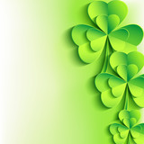 Patricks day background with stylish leaf clover