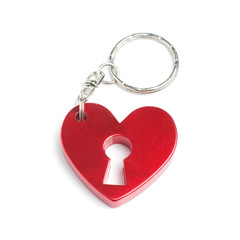 Red heart with keyhole keyring
