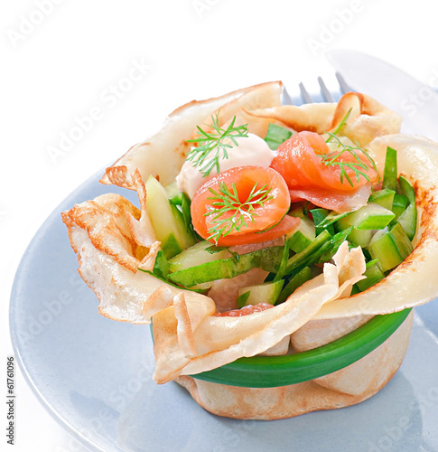 Pancakes tarts with salmon