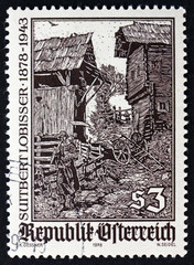 Postage stamp Austria 1978 Woodcut by Switbert Lobisser