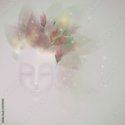 Sleeping beauty / Surreal illustration of Spring like Woman
