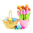 Easter basket with eggs and a bunch of tulips