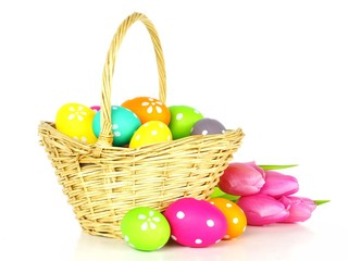 Easter basket filled with colorful eggs