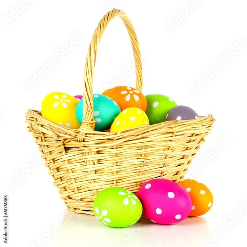 Easter basket filled with colorful eggs over a white background