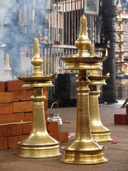 Antique Brass made oil lamp, Samai, Kerala, India