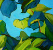 leaves , painting by oil on canvas, illustration, background