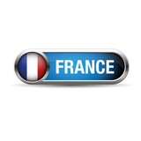 France Flag Glossy Button.