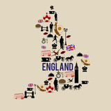 England landmark map silhouette icon