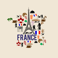 France landmark map silhouette icon