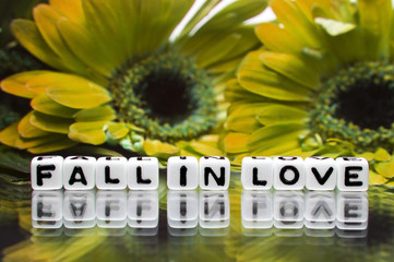 Fall in love message with flowers