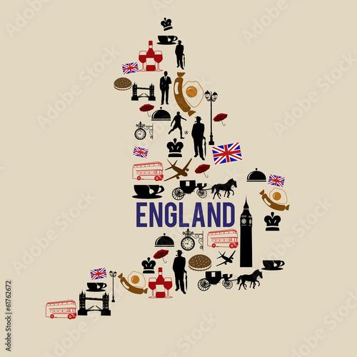England landmark map silhouette icon - 61762672
