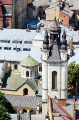 Old Church in Lvov,Ukraine.View from city hall.Historical center