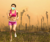 Woman was wearing a mask and running  on air pollution