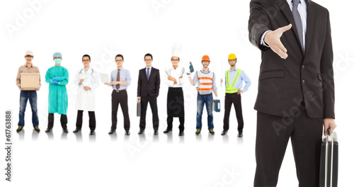 businessman cooperate with different industries people