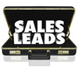 Sales Leads Briefcase Words New Customers Prospects Opportunity