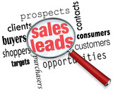 Sales Leads Magnifying Glass Looking Searching Customers Prospec